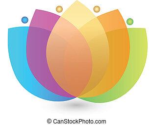 fiore, variopinto, logotipo, loto