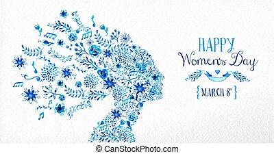 fiore, vendemmia, illustrazione, felice, giorno, donne