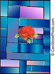 fiore, vetro macchiato