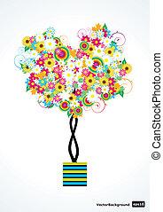 fiore, vettore, albero