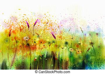fiore, viola, astratto, acquarello, cosmo, pittura