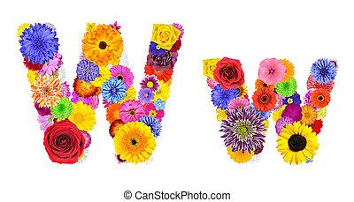 fiore, w, alfabeto, -, isolato, lettera, bianco