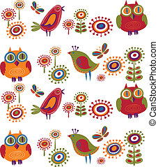 fiori, 2, -, uccelli