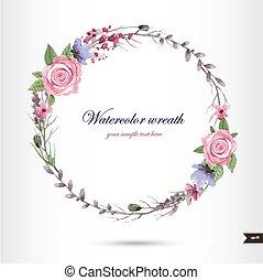 fiori, acquarello, ghirlanda