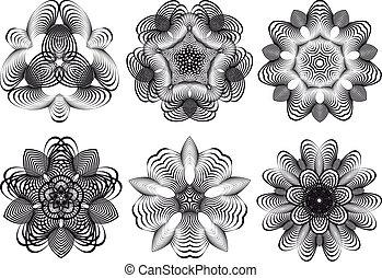 fiori, astratto, vettore, geometrico