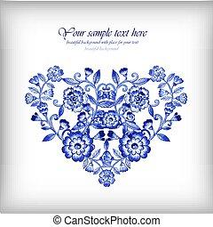 fiori blu, cuore, gzhel, floreale, acquarello
