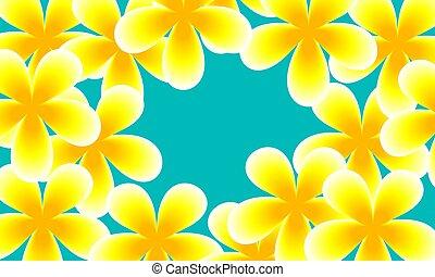 fiori blu, fondo, giallo