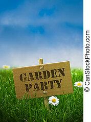 fiori blu, giardino, natura, fisso, testo, erba, cielo, margherita, scritto, palo, sfondo verde, usando, festa, bambù, cartone, su di, pannello