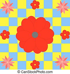 fiori blu, squadre, rosso giallo