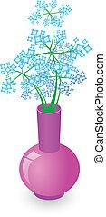 fiori blu, vaso