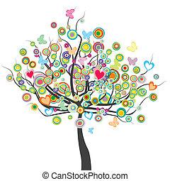 fiori, cerchio, albero, farfalle, forma, foglie, colorato