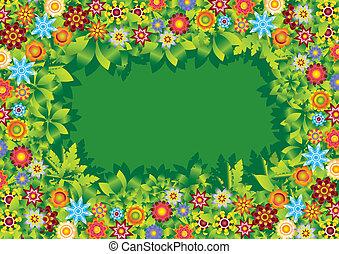 fiori, cornice, vettore, giardino