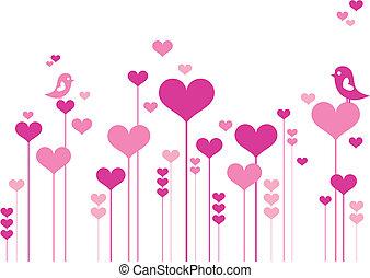 fiori, cuore, uccelli