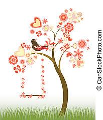 fiori, cuori, albero