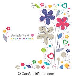fiori, cuori, scheda, augurio