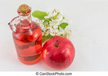 fiori, decorato, mela, aceto