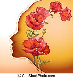 fiori, donna, giovane, bello