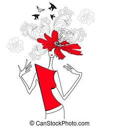 fiori, donna, rosso
