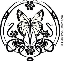 fiori, elemento, flourishes, grafico, farfalla, 2