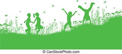 fiori, erba, gioco, bambini
