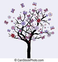 fiori, floreale, farfalle, astratto, albero