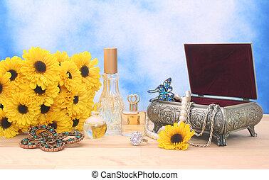 fiori, gioielleria, profumo
