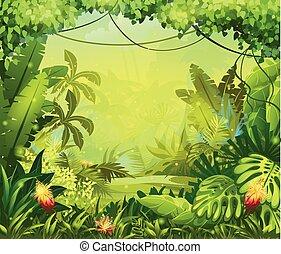 fiori, giungla, illustrazione, rosso