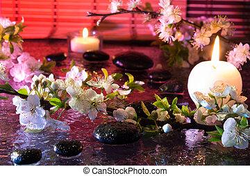 fiori, mandorla, candela