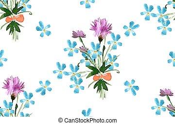 fiori, modello, seamless, selvatico