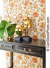 fiori, parteggiare tavola, decorazione, interno