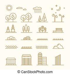 fiori, pianeti, elementi, lineare, icone, set., albero, acqua, vettore, erba, stelle, cespugli, pietre, linea, nuvola, onde, paesaggio