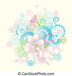 fiori, rotoli, primavera, astratto