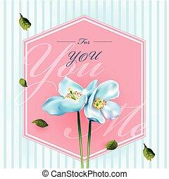 fiori, scheda, augurio, acquarello