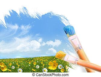 fiori selvaggi, pieno, pittura, campo