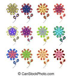 fiori, set, abstract., colorito, geometrico, flowers., germogli, multi-colored, s, bambini, application.