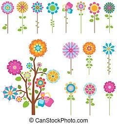 fiori, set, retro