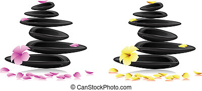 fiori, terme, pietre