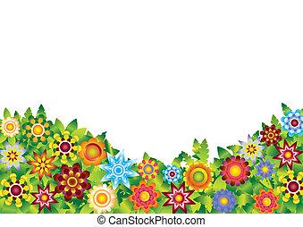 fiori, vettore, giardino