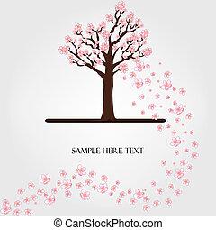 fioritura, vettore, albero