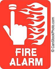 (fire, segnale allarme incendio, p, sicurezza, chiamata
