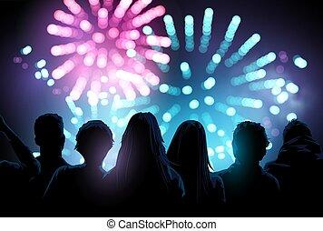 firework, gruppo, osservare, mostra, grande, persone