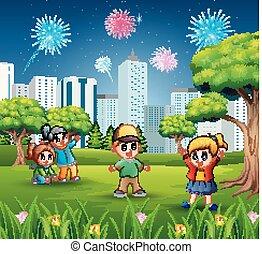 fireworks, cielo, gioco, fuori, cityscape, bambini