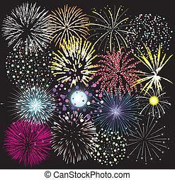 fireworks, set, colorito