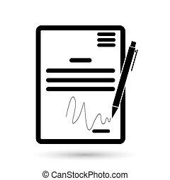 firma, simbolo, contratto, accordo, patto, accordo, icon., convenzione