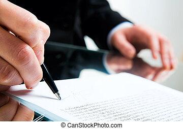 firmando documento, affari