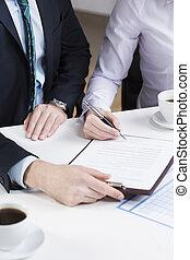 firmare, businessperson, documento, importante