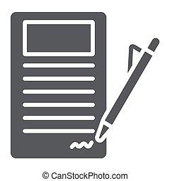 firmare, fondo., segno, modello, accordo, contratto, carta, solido, vettore, grafica, icona, bianco, documento, glyph