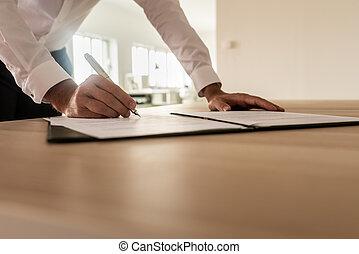 firmare, legale, assicurazione, uomo affari, documento, o