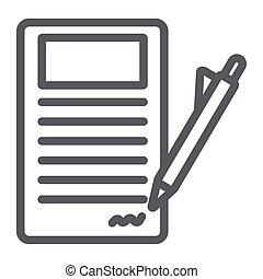 firmare, lineare, segno, modello, accordo, contratto, carta, fondo., vettore, grafica, icona, linea, documento, bianco