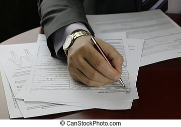firmato, mano, assicurazione